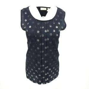 Chico's Pleated Semi Sheer Polka Dot Top Sz 2/L/12
